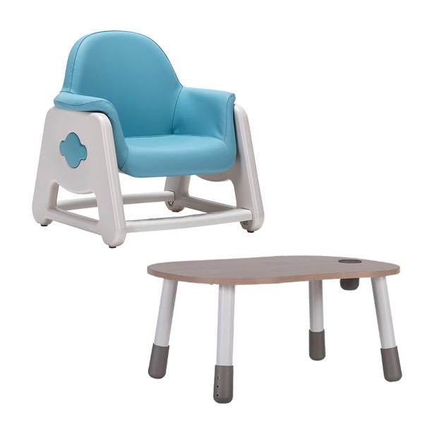 리바트온라인 뚜뚜 높이조절 아이 책상 의자 세트 (핑크 블루), 블루