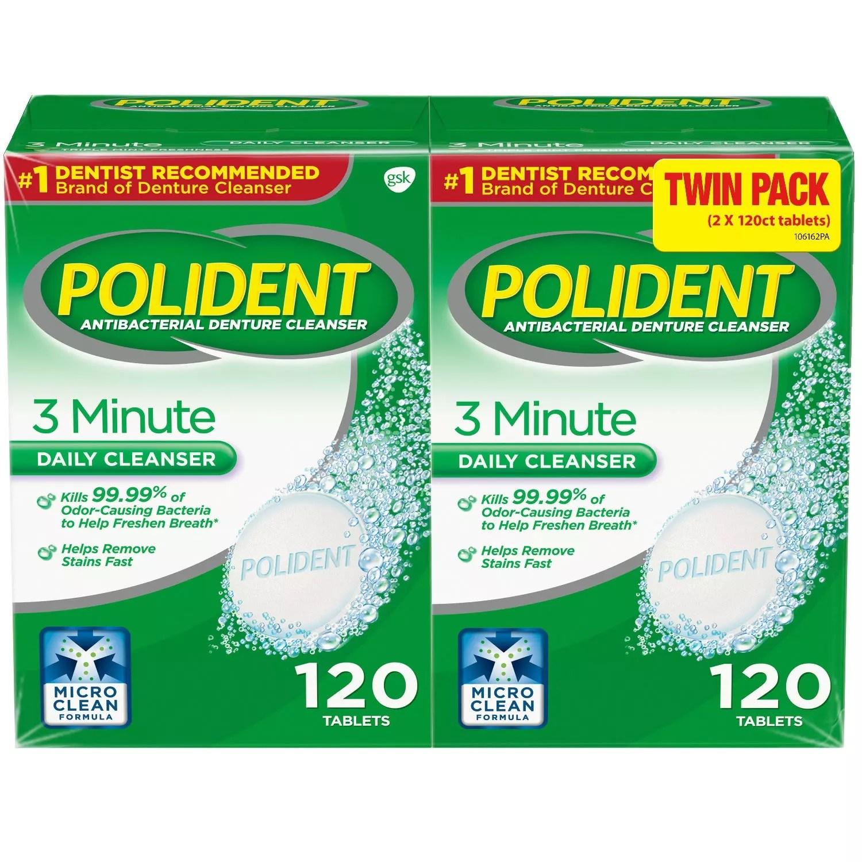 폴리덴트 3분 99% 안티박테리얼 덴탈 클리너 틀니세정제 240타블렛, 1box, 240정
