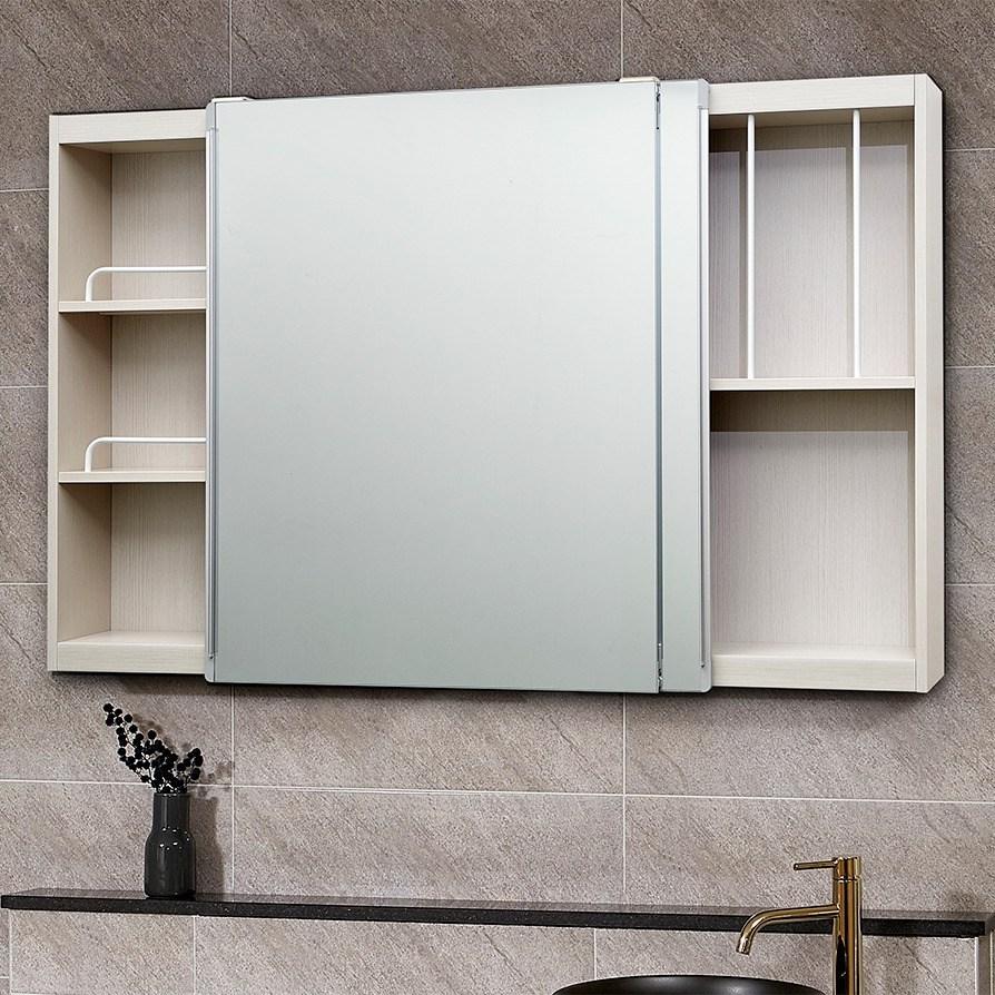 모카 전면 거울 슬라이드 도어 욕실 수납장(1200X800), 심플아이보리(옵션추가-댐퍼&손잡이), 1개