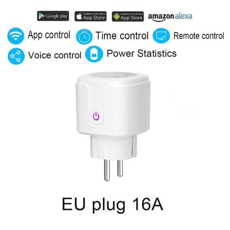 WiFi 스마트 플러그 EU 어댑터 무선 원격 음성 제어 전원 에너지 모니터 Alexa, Eu 플러그 16A x1 (POP 5582032027)