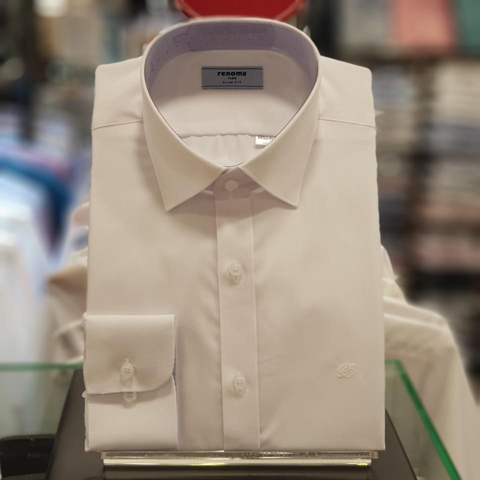 레노마 셔츠 화이트 긴소매 텐셀 구김 없는 배색 스냅 슬림핏