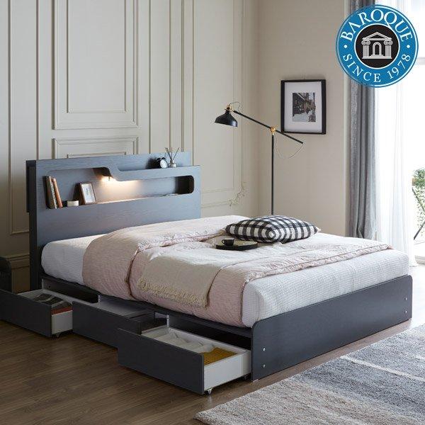 모던바로크 비앙카 프리미엄 곡선 헤드 LED 수납 침대, 그레이, 본넬양면 매트리스