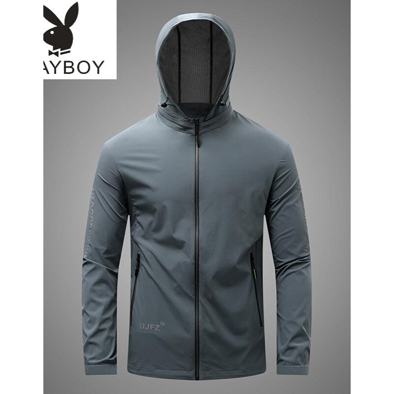 바람둥이 [PLAY BOY] 중 청년 재킷 남자 스킨 케 어 전문 점 퍼 얇 은 트 레이 닝 에 어 로 빅 사이즈 남성복 블랙 L