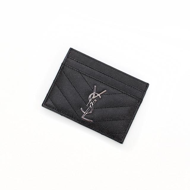 YSL생로랑 캐비어 카드지갑 423291 블랙(은장)