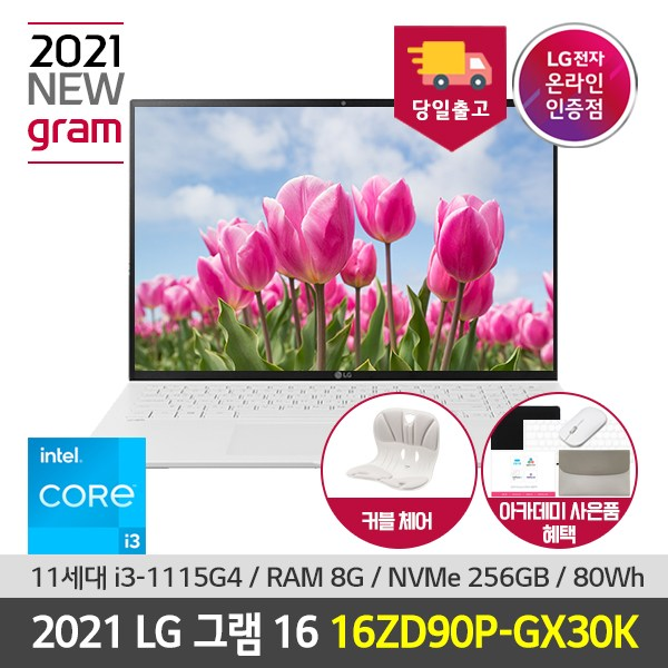 LG 그램 16인치 2021 노트북 16ZD90P-GX30K 11세대 인텔i3 웹캠 대화면 가벼운 노트북