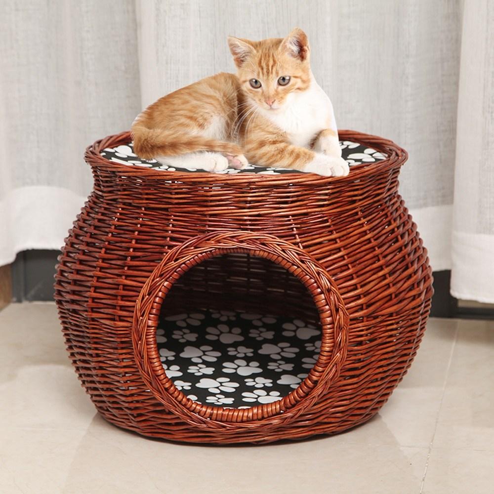 라탄 고양이 길냥이 여름 숨숨 집 4color, 원색
