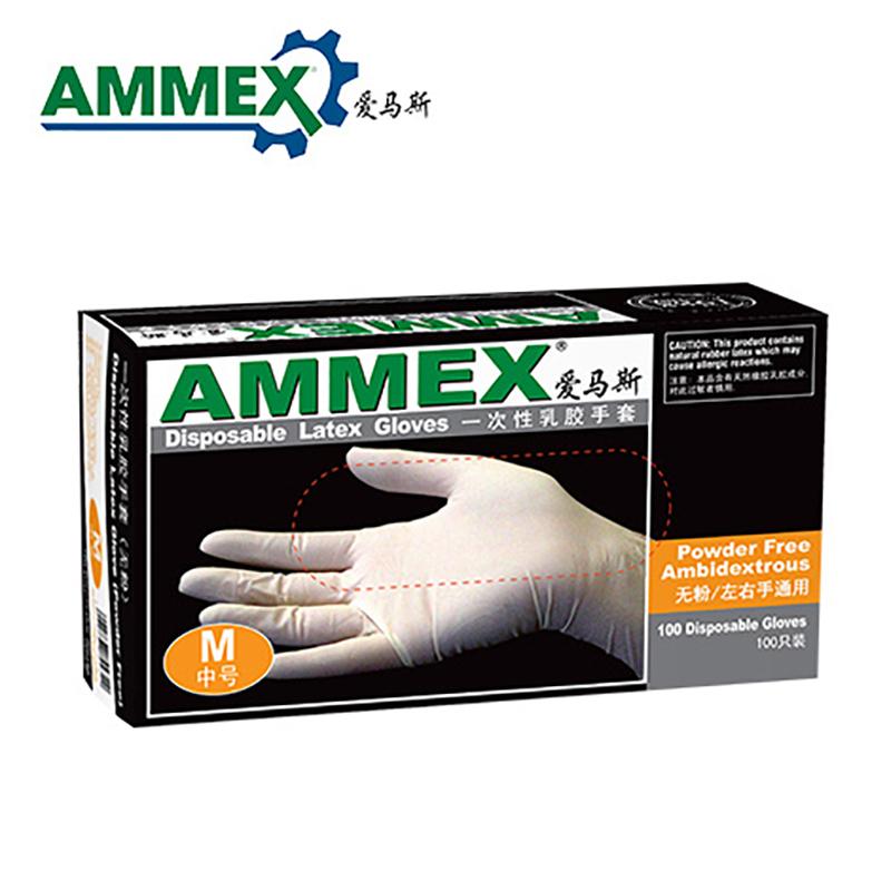 고무장갑 AMMEX일회용 라텍스 장갑 실험실 식품 가공 전자 용도두껍고 가정용, T03-M, C01-화이트