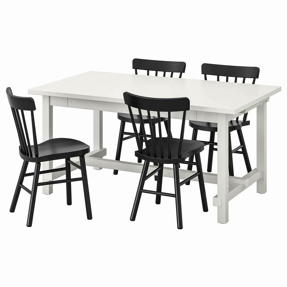 테이블+의자4 화이트 블랙 NORDVIKEN NORRARYD 152 223x95 cm, 기본