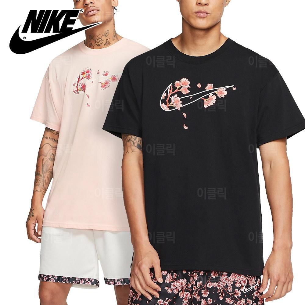 나이키 플로랄 스우시 오버핏 반팔티 남자 여름 여성 티셔츠 라운드 핑크