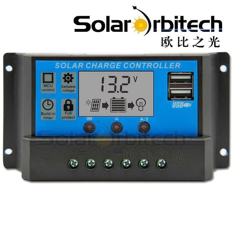 태양광충전기 태양에너지 컨트롤러 12V/24V통용 세트 USB광복판 충전 모듈 충만 셀프멈춤 빛제어, T03-12V24V30A