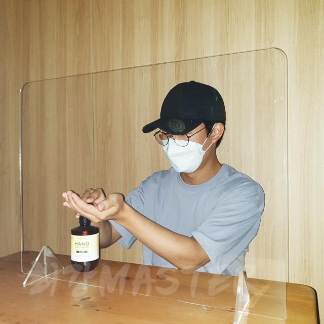 하하만족 투명 칸막이 비말차단 안전 가림막 회의실 접수처 1인용, 일반형3T