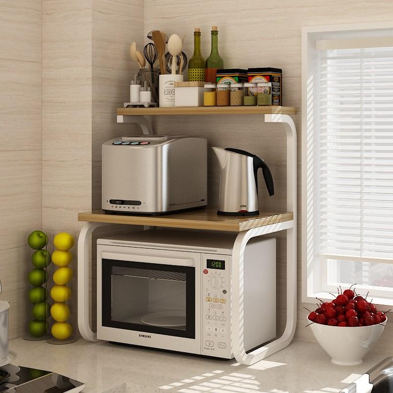 주방 3 층 전자 레인지 더블 레이어 밥솥 오븐 렌지거치 선반 수납장, 아몬드 + 흰색 프레임 60 길이 * 40 너비 * 75 높이