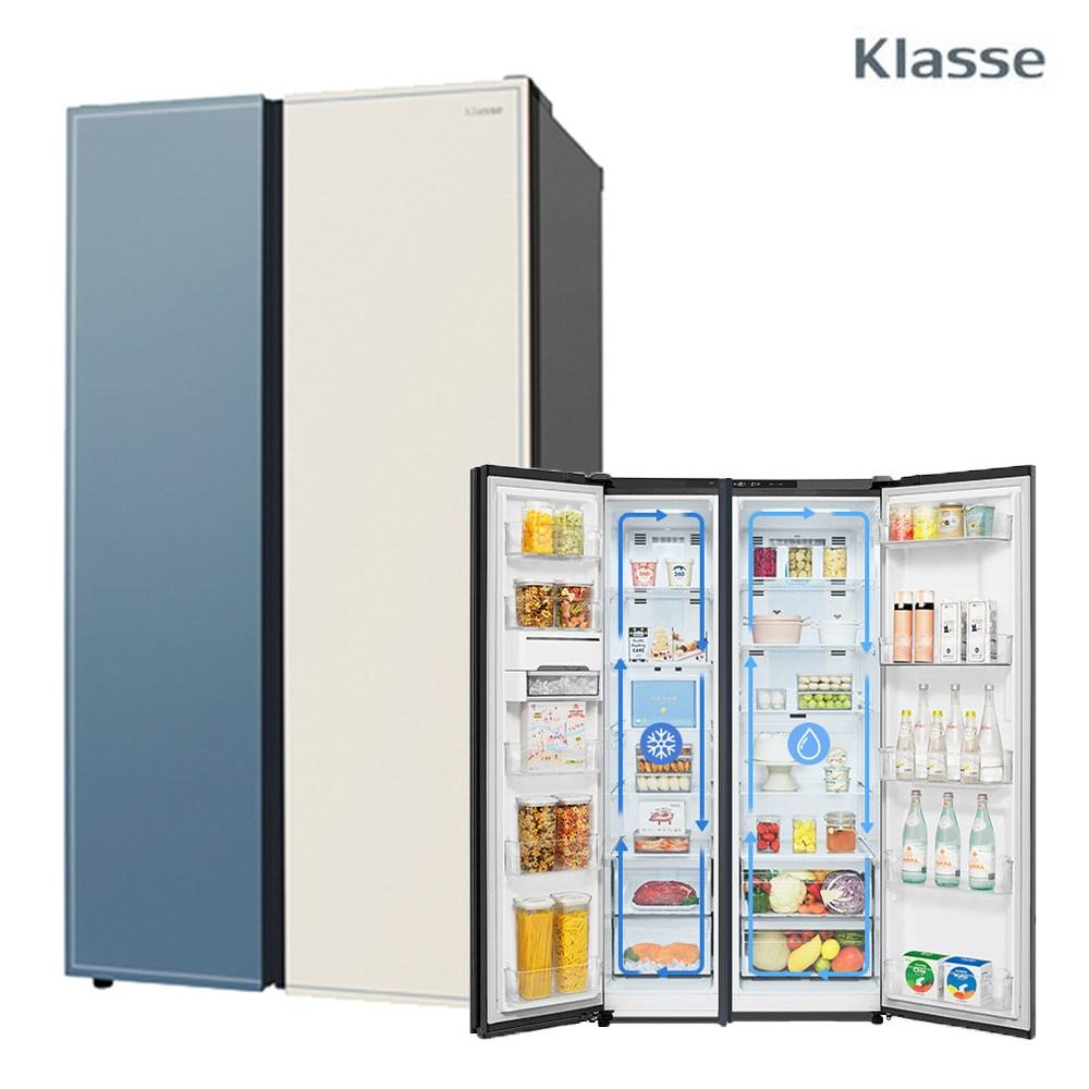 위니아 클라쎄 800L 프리미엄 컬러글라스 양문형냉장고 WKR83DSSBBF 무료설치