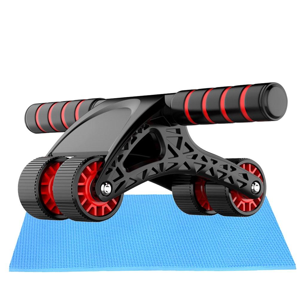 카벤토리 AB슬라이드 무소음 휠 4륜 롤러 복근운동기구, 블랙