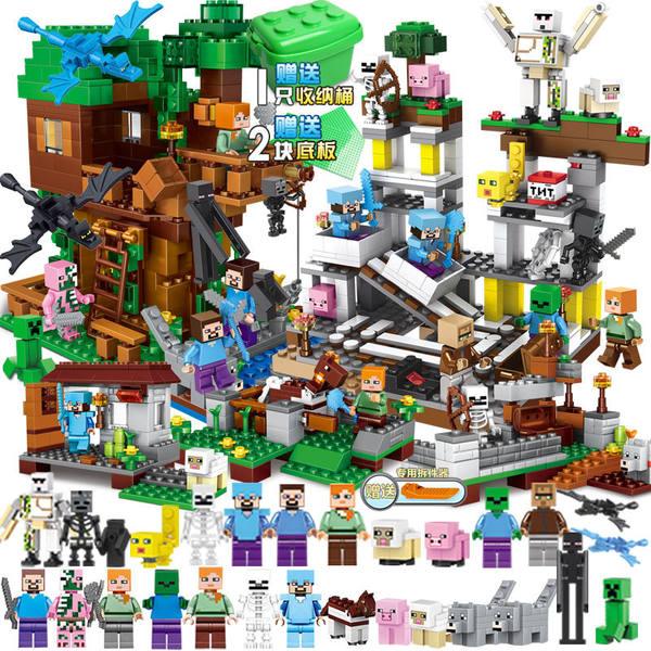 마인크래프트 피규어 장난감 블록 마을 학생과 호환 1, 슈퍼 마인 디럭스 에디션 + 슈퍼 미니 피겨