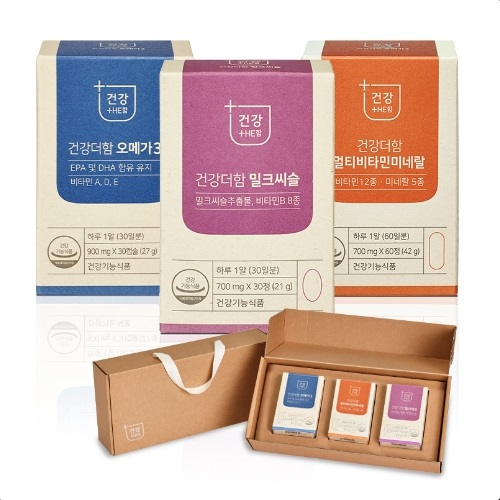 [Gold box] 건강더함 밀크씨슬 + 멀티비타민 미네랄 + 오메가3 B세트, 1세트 - 랭킹13위 (28900원)