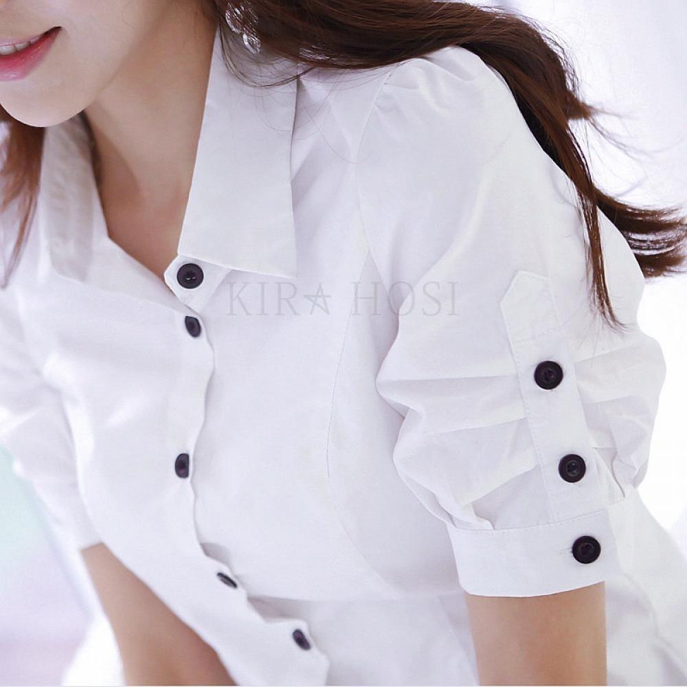 여성 반팔 남방 슬림핏 오피스룩 셔츠 정장 여름 127호 kirahosi COfxum00+덧신 증정