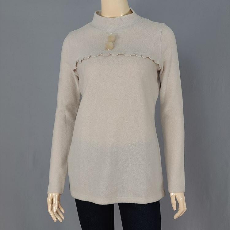 올리비아로렌 진주 장식 반 넥 티셔츠