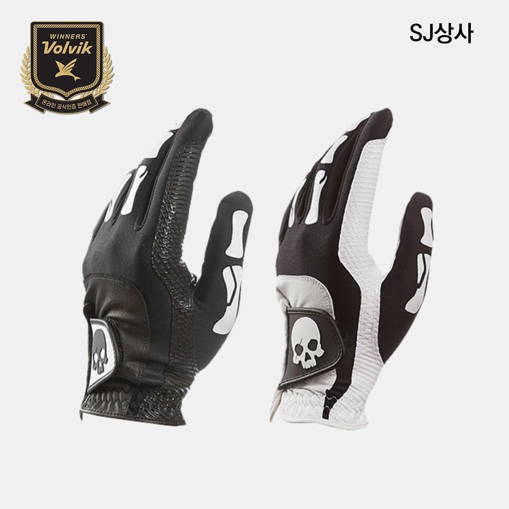 볼빅 VAJB-스컬 라이크라 장갑(남성용) 골프장갑, 블랙