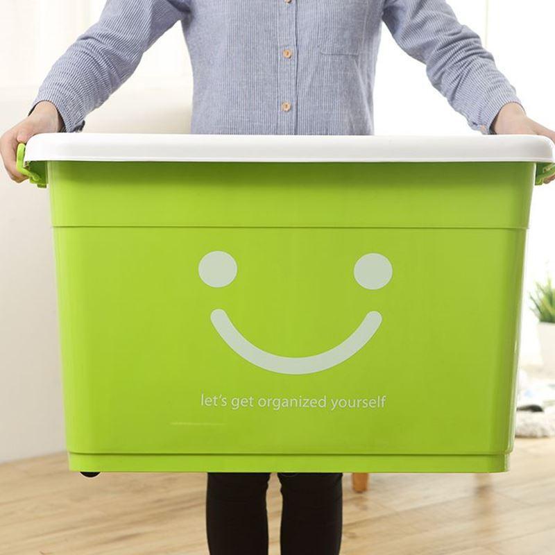 수납함 특대호 수납함 플라스틱 가두색 옷정리함 옷 이불 장난감 상자 수납통 회전박스 가두 녹색 웃음 120L (옷수납 얇은 이불):63*45*38cm, 상세페이지 참조