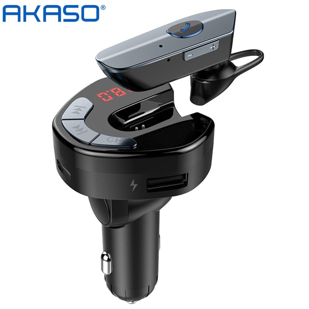 아카소 블루투스 핸즈프리 무선카팩 충전기 차량용MP3 카팩+블루투스 이어폰, V8