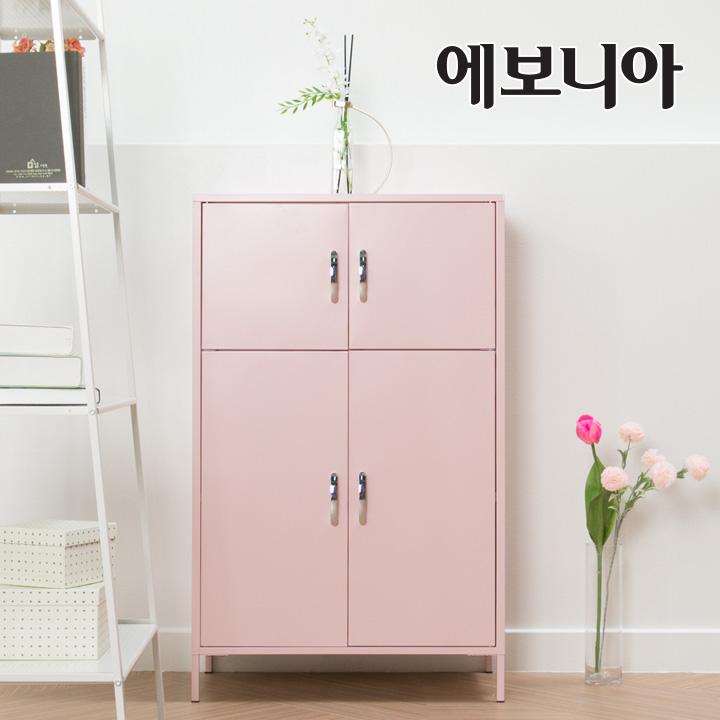 [15조한정 즉시할인]에보니아 블랑 3단4문 캐비닛수납장, 핑크