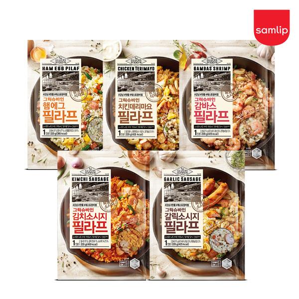[삼립] 냉동 그릭슈바인 볶음밥/필라프 4봉+핫도그 1봉(햄에그/갈릭/김치/감바스/치킨마요, 선택:냉동 필라프 감바스 2봉+햄에그 2봉+핫도그 1봉