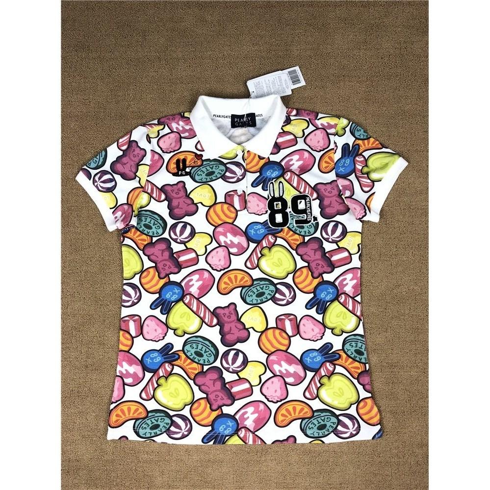 파리게이츠 제프리 여성 카라 기능성 고급 골프 반팔 티셔츠, 애플 프린트