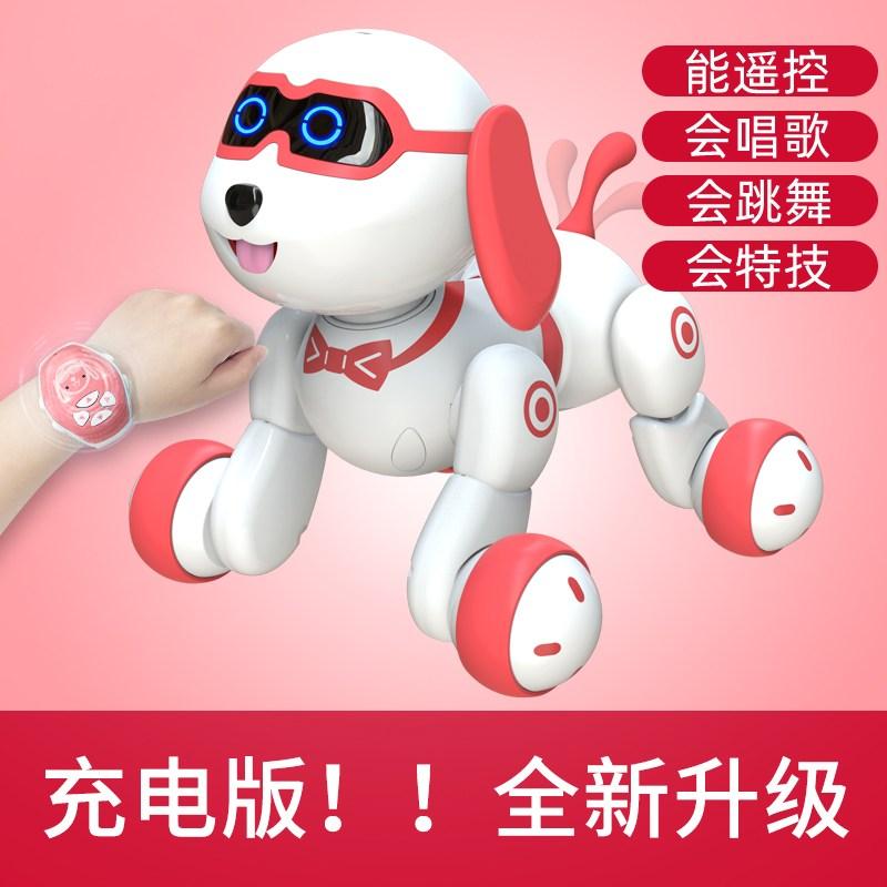 Tekno Newborns 인공지능 로봇강아지 로봇고양이 퍼피 리틀 여섯 아기 스마트 로봇 개 장난감 개 산책, 충전식 버전_-