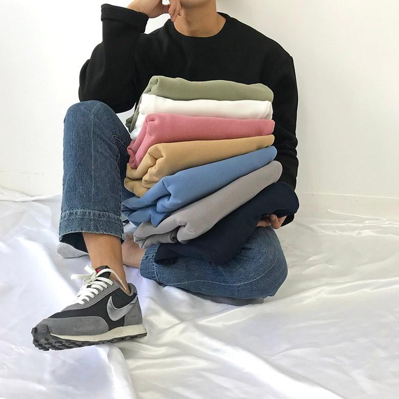 간빠레 무배 데일리 기모 무지 라운드 긴팔티셔츠 8color 긴팔 티셔츠