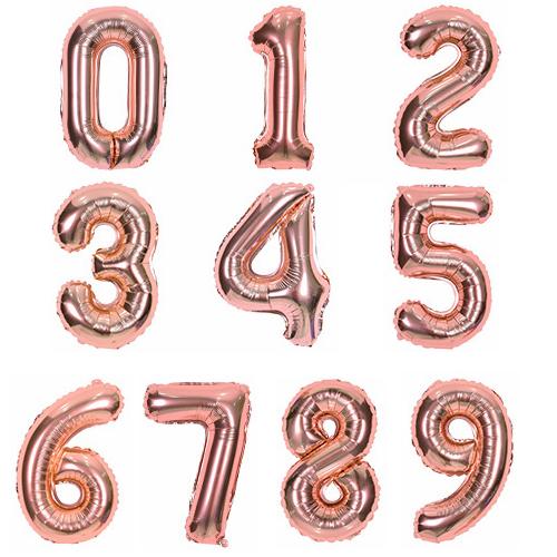 로나파티 숫자풍선 로즈골드, 1개, 1. 숫자풍선 로즈골드 (소) - 0