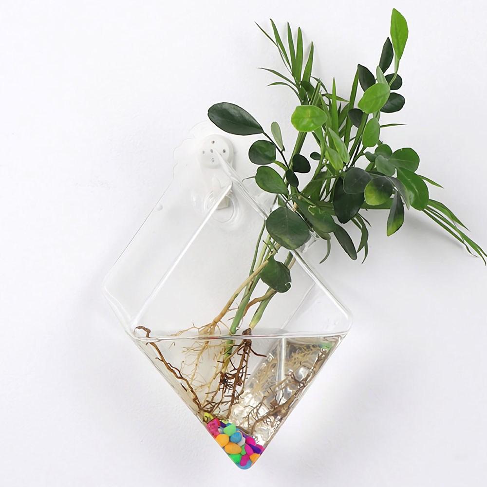 포스아트 벽걸이 유리화병 CN 인테리어 수경재배 꽃병 화분, 다이아몬드