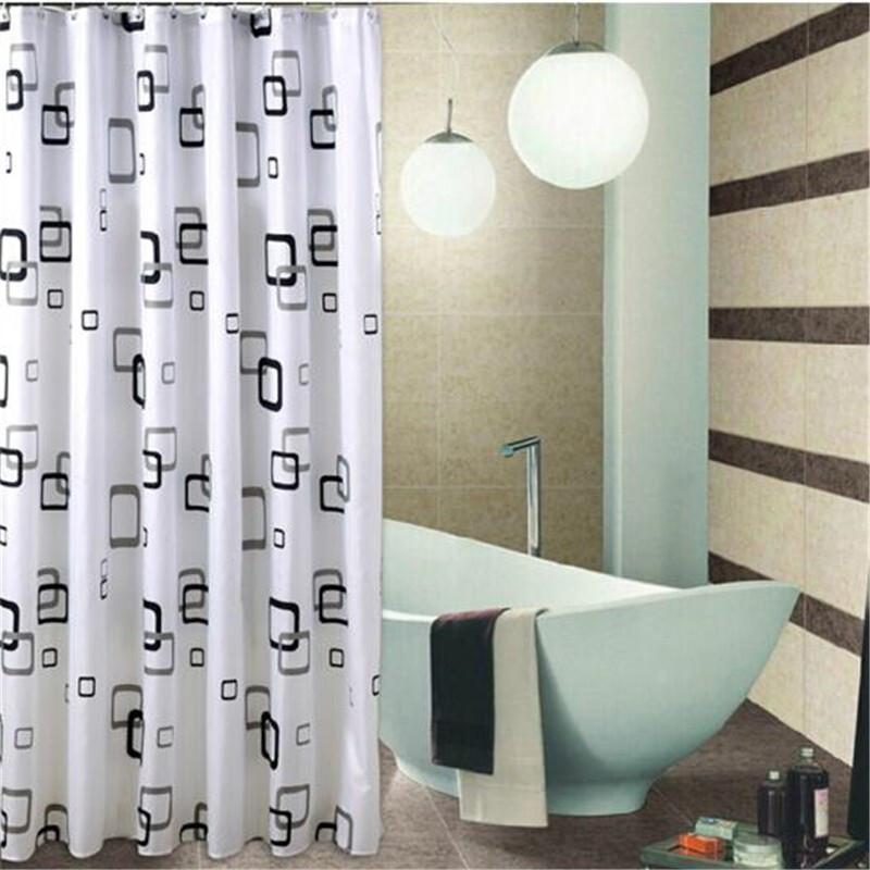 샤워 커튼 그라인더 샌 드 플라스틱 방수 방수 곰팡이 방 안개 목욕 커튼 천 샤워 커튼 천 12 개 후크 정방형 (180 * 200 cm, 상세페이지 참조