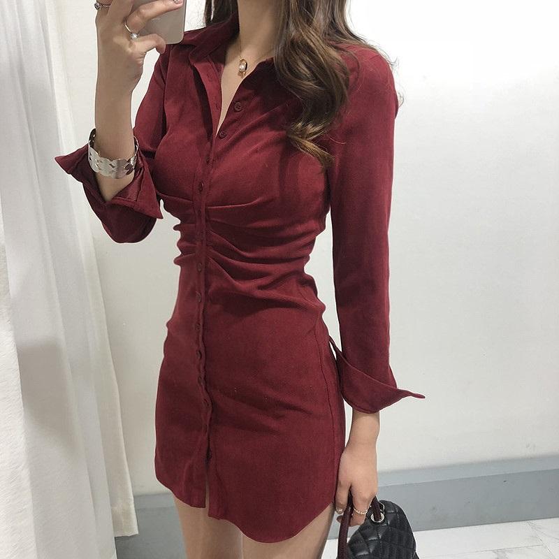 WAWAMOM(특허브랜드) 여성 긴팔 홀복 가을 섹시 정장원피스 자켓 셔츠형 미니원피스 클럽의상 BSQ82