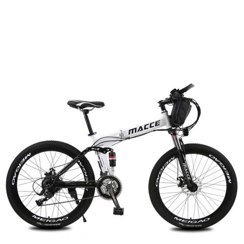 Tuohang 리튬 배터리 접이식 전기 산악 자전거, 화이트 스포크 휠 베어 카_48V