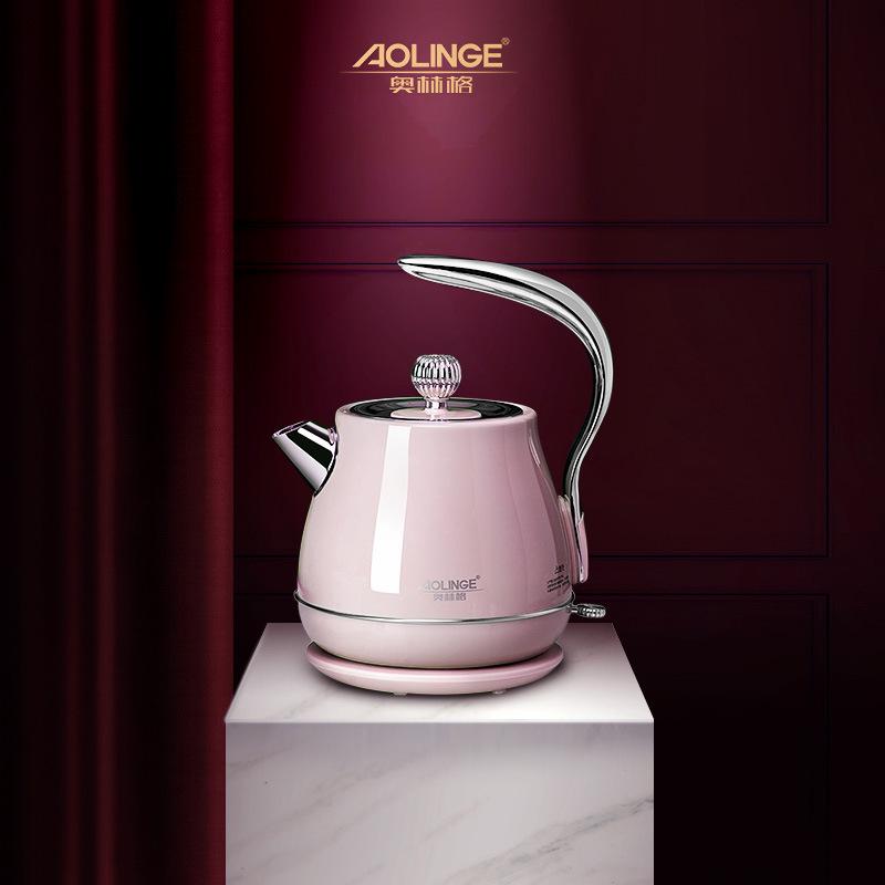 커피포트 복고풍 레트로 커피 전기주전자 북유럽 감섬전기포트 인테리어 자취 필수템, 핑크