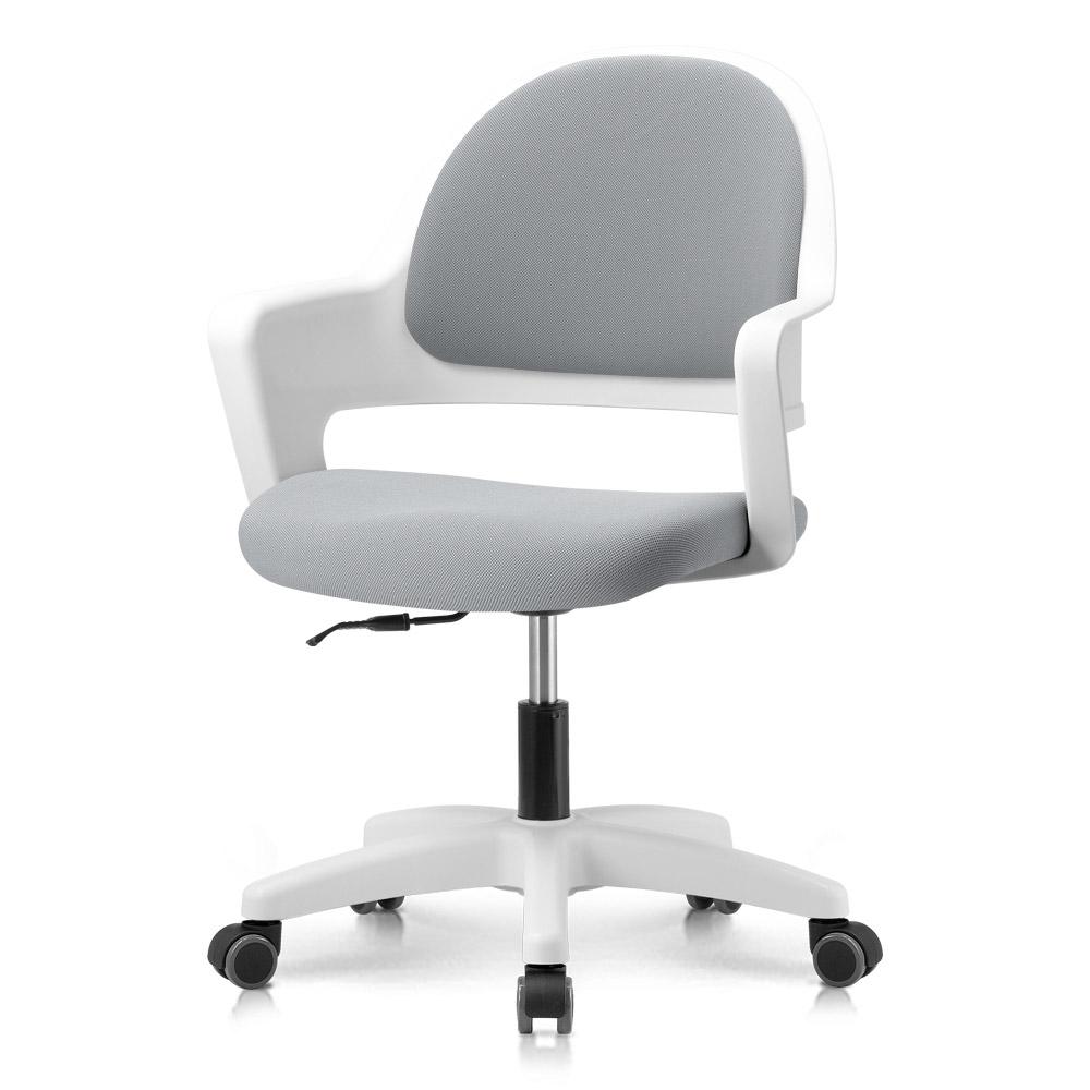 프리메이드 프로그 의자, 화이트바디_라이트그레이 패브릭