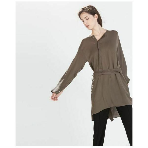 204395 자라 Studio Asymmetric Hem Long 셔츠 Flowing 벨트ed Tunic 드레스 8167832 S