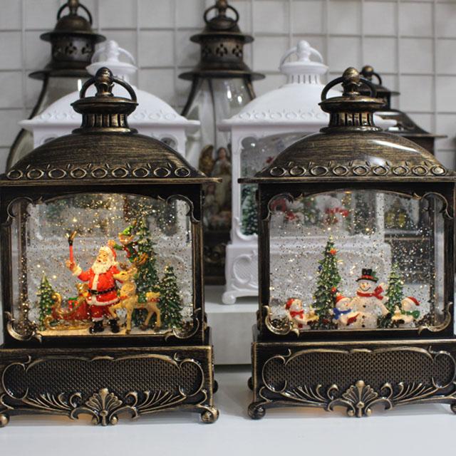 (파스텔스토리)LED 크리스마스 직사각 랜턴 워터볼 오르골, 산타