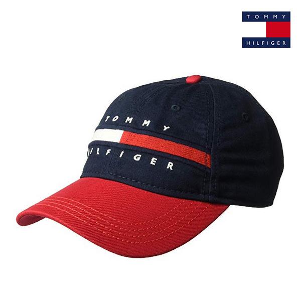 타미힐피거 에버리 볼캡 모자 네이비레드