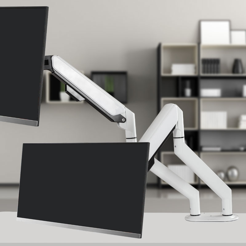 듀얼 모니터 스탠드 암 화이트 모니터 거치대 360도회전 높이 각도 조절 가능