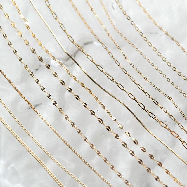 [새미쥬얼리]18K 체인목걸이 금 목걸이 줄 초커 클립 뱀줄 스네이크 체인