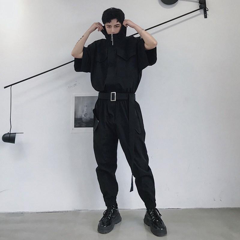 남자 오버핏 후드 블랙 반팔 벨트 점프수트