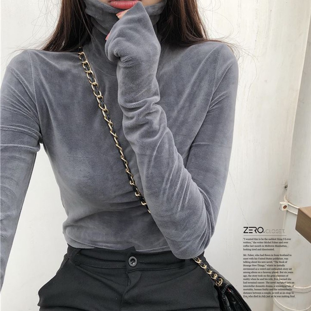[제로의 옷장]소프트 벨벳 목폴라 티셔츠 TS0930A04