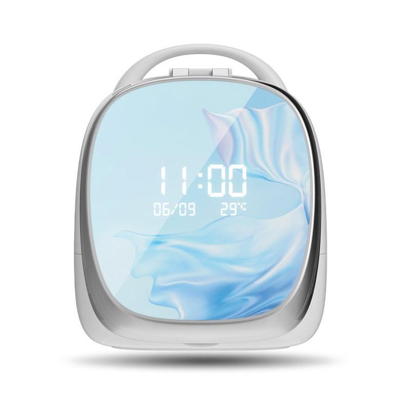 휴대용 스마트 화장대 화장품정리대 홈 탁상시계, 거울 메이크업 수납 상자 [블루] 플래그십 버전 센서 밝은 화면 ★ 다기능 디스플레이