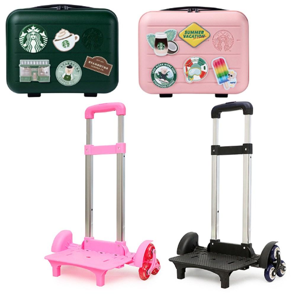 Wcle 스타벅스 서머레디백 캐리어 만들기 가방 바퀴 손잡이 키트 핑크 블랙 그린 1구 3구