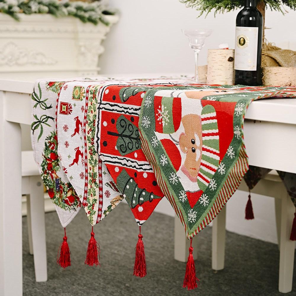 겨울 테이블러너 크리스마스 식탁보 심플 포인트 인테리어 러너, 1, A