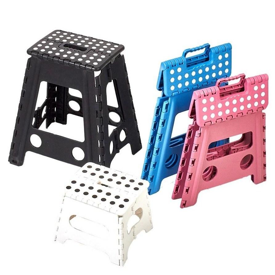 할메이드 플라스틱 접이식 의자 휴대용 캠핑의자 보조 스툴, 대-화이트
