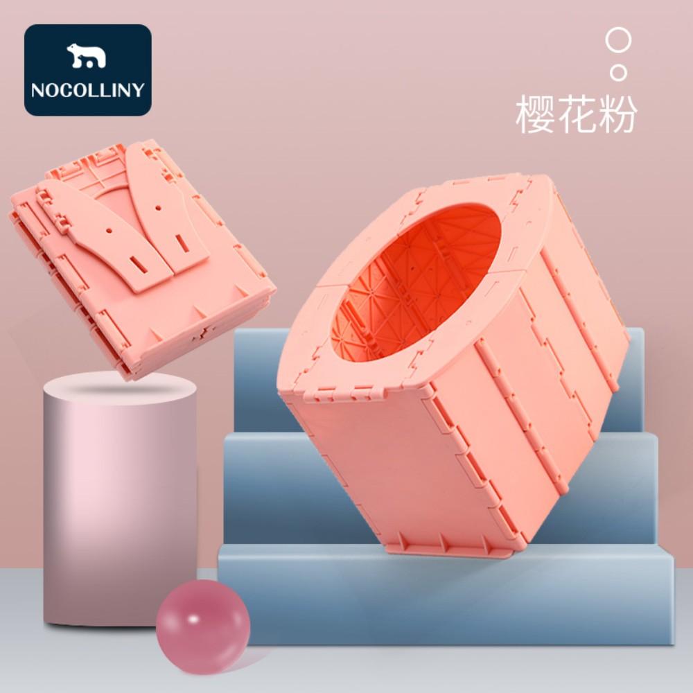 차박 용품 캠핑 작은사이즈 접이식 변기모양 간이 화장실 차량용 이동식 휴대용 야외 노지, 핑크
