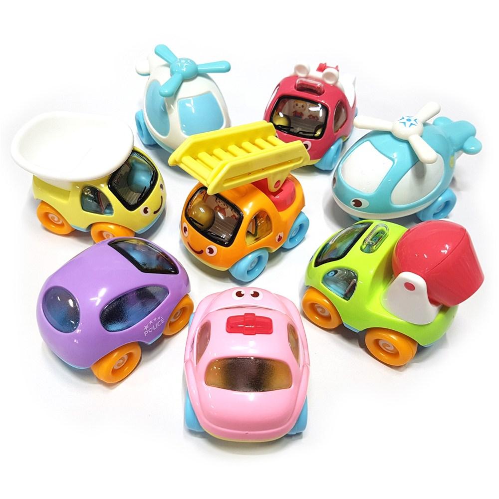 [모퉁이샵] 파스텔 동글 아기자동차 장난감 8개세트_남아선물 여아선물 어린이집 단체 생일 선물_생일답례품_아기자동차 붕붕
